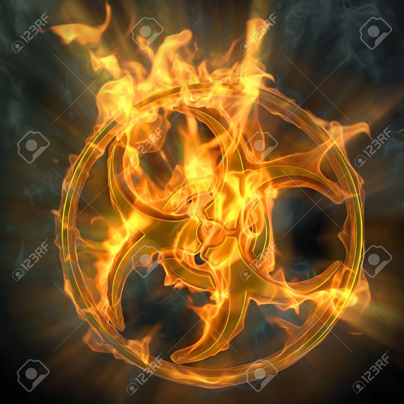 flaming biohazard sign. isolated on black. Stock Photo - 9311035