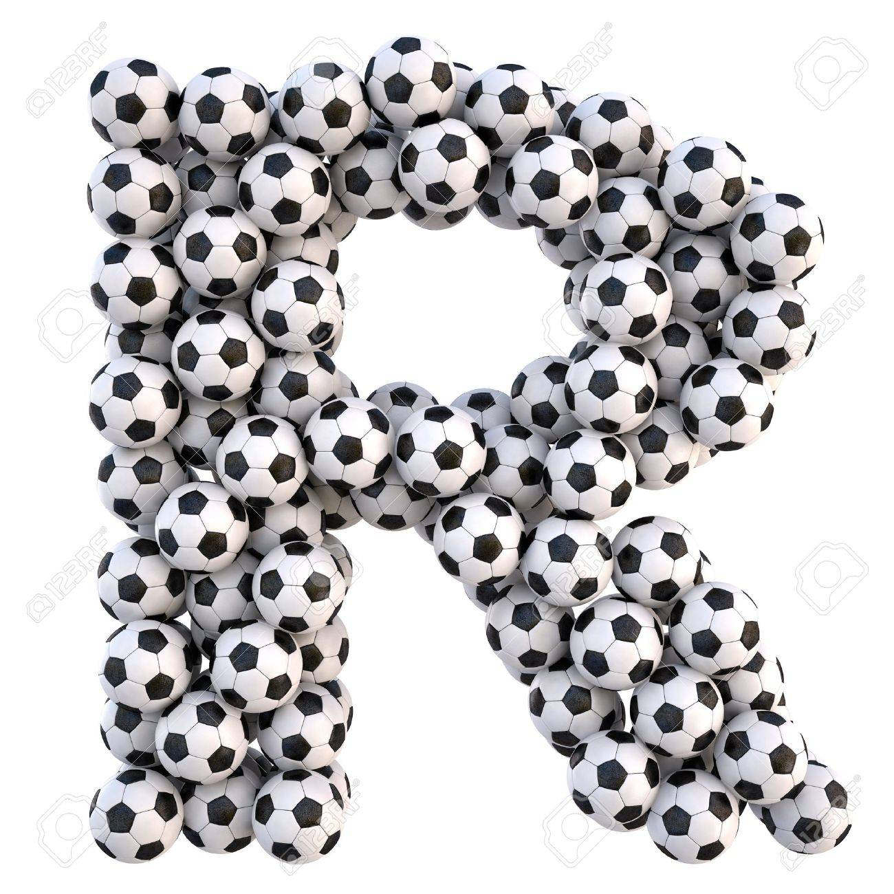 soccer balls in the form of letters. isolated on white. Stock Photo - 9523048