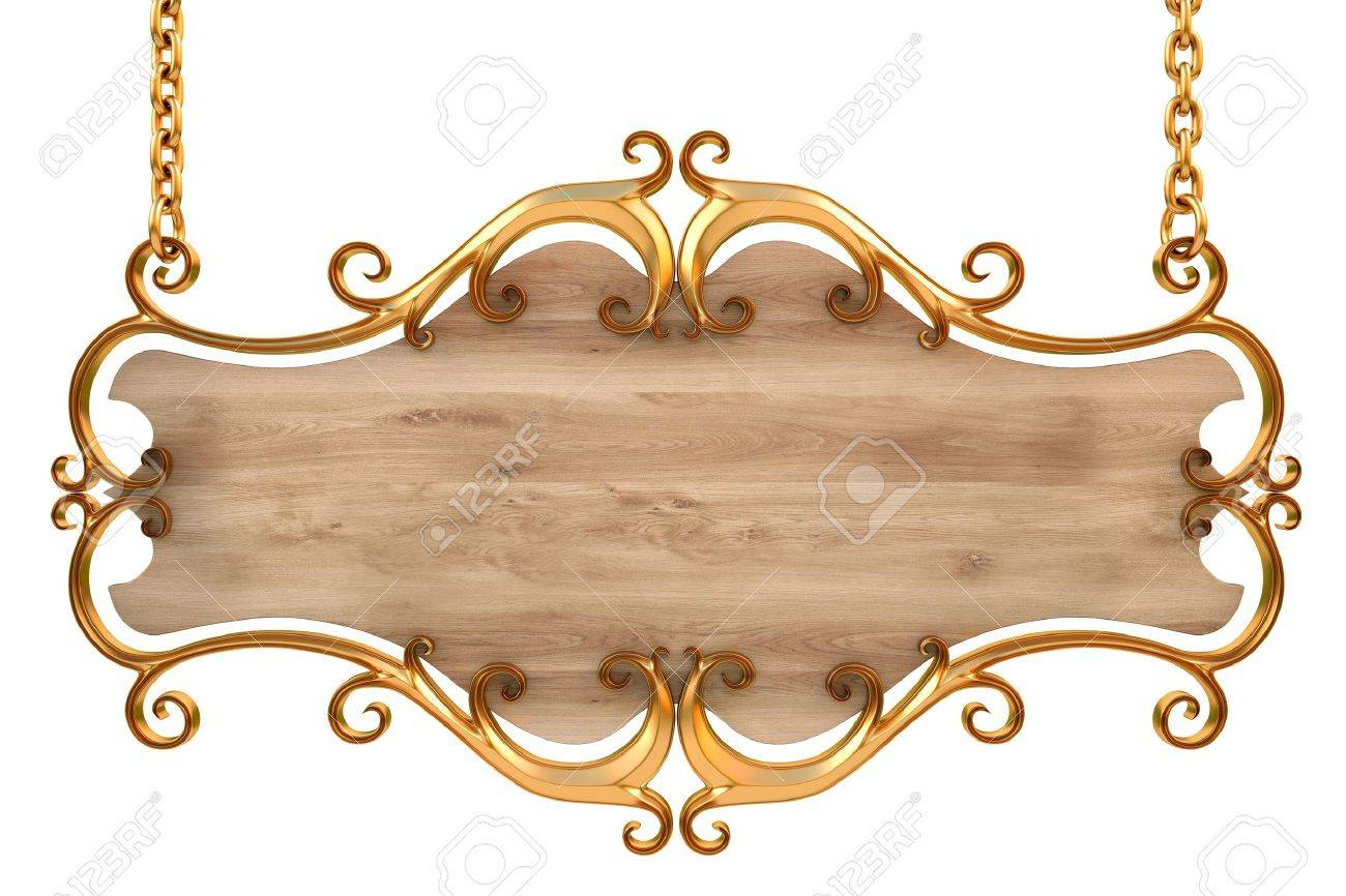 wooden sign in a gold frame with chains. isolated on white. with clipping path. Stock Photo - 9624324