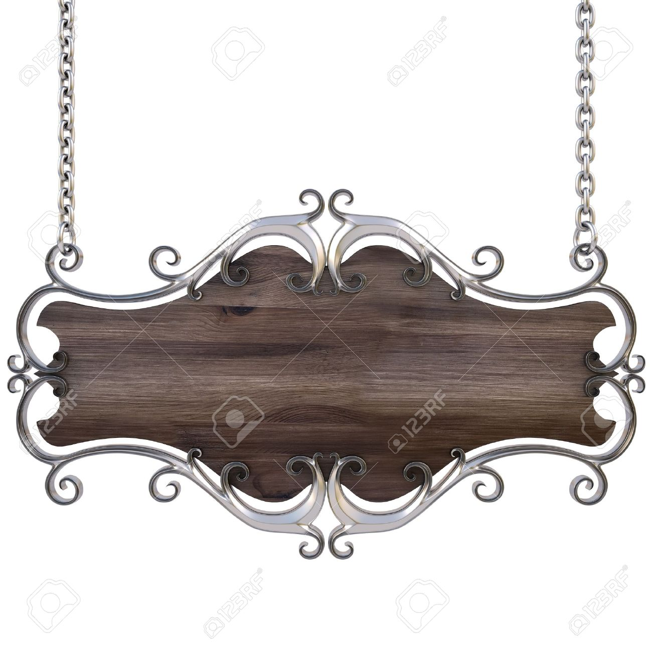 wooden sign in a gold frame with chains. isolated on white. with clipping path. Stock Photo - 9624322