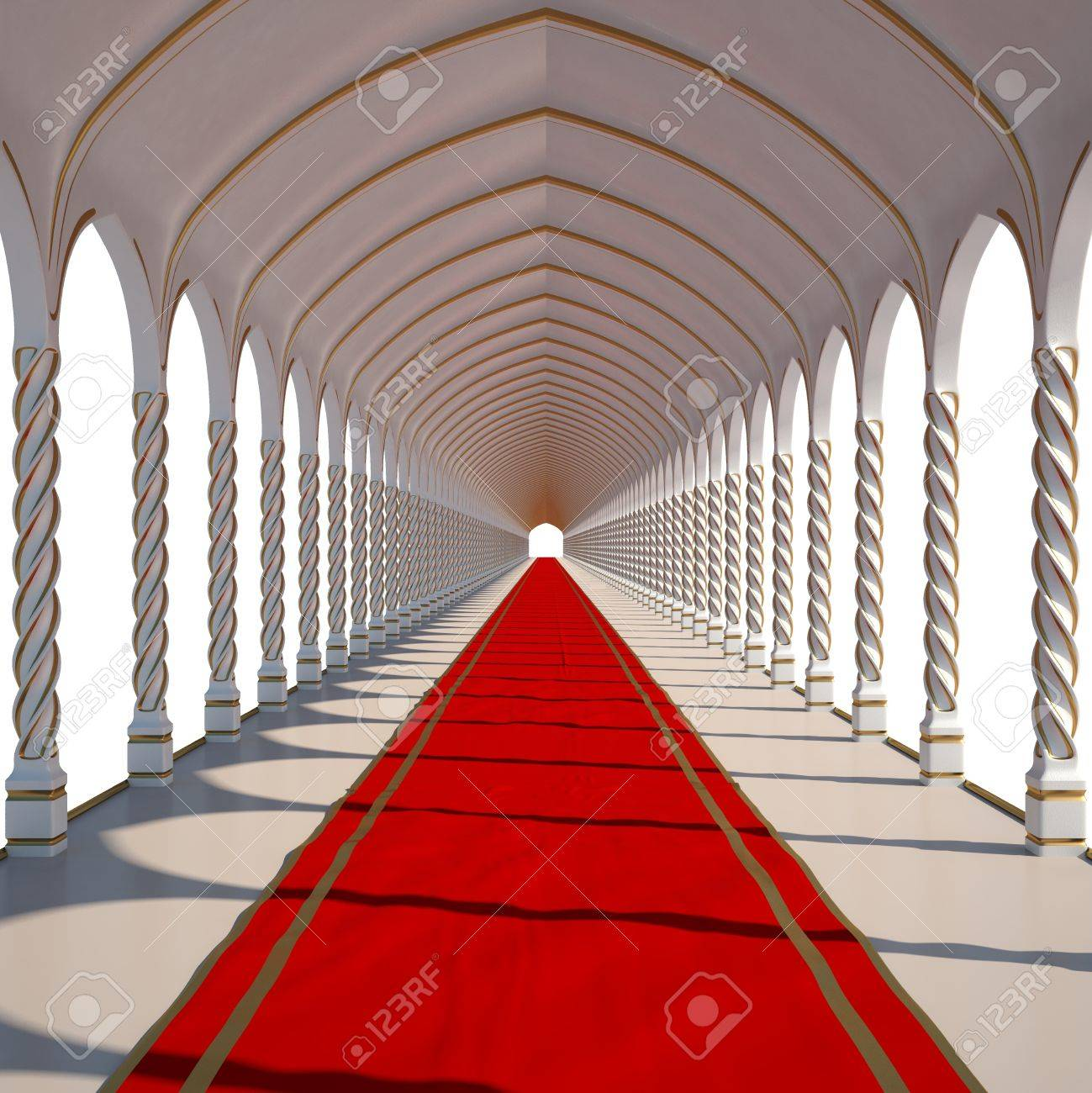 long antique hall with red carpet. isolated on white. stock photo