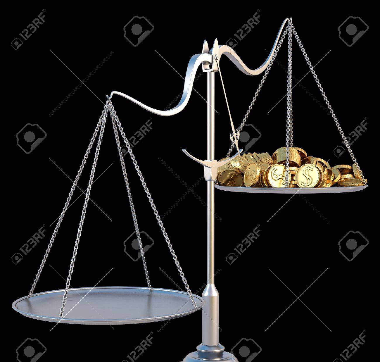 jewelry scales with a heap gold coins. isolated on black. Stock Photo - 10083440