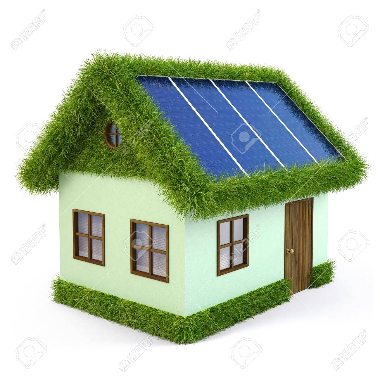 House from the grass with solar panels on the roof. isolated on white. Stock Photo - 10083479