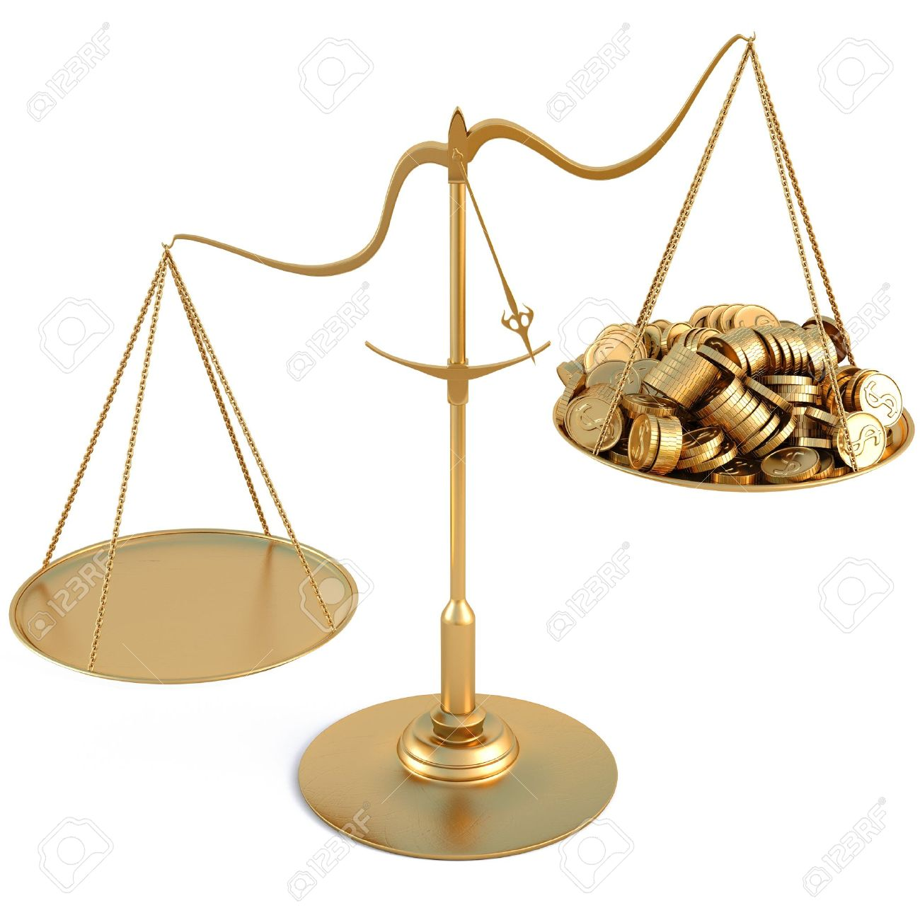 jewelry scales with a heap gold coins. isolated on white. Stock Photo - 10083441