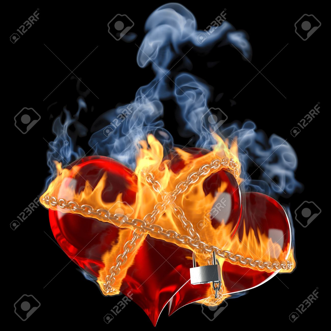 two hearts linked together by a burning chain. isolated on black. Stock Photo - 10267355