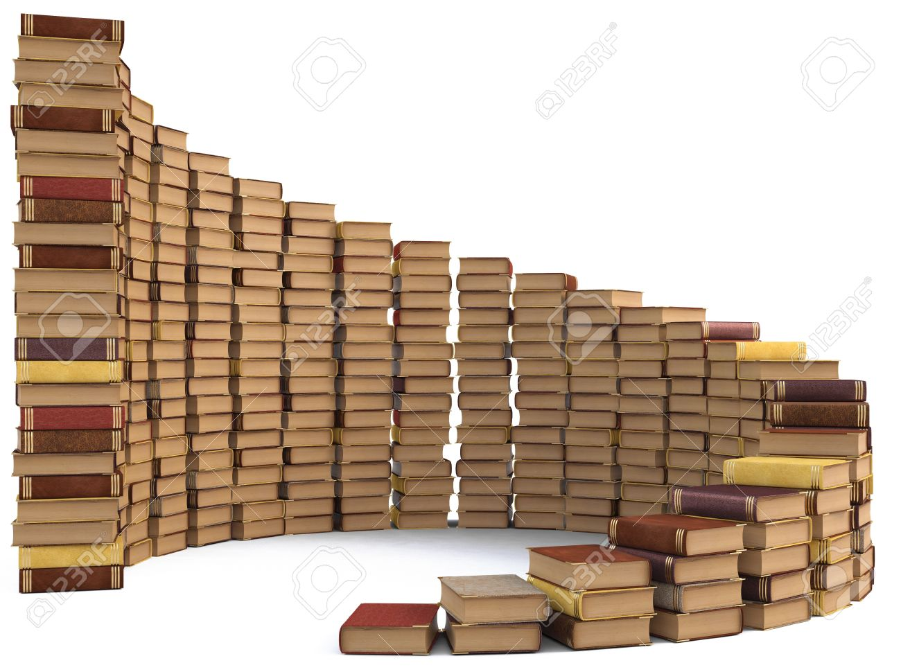stacks of books in the form of a spiral staircase. isolated on white. Stock Photo - 10710608