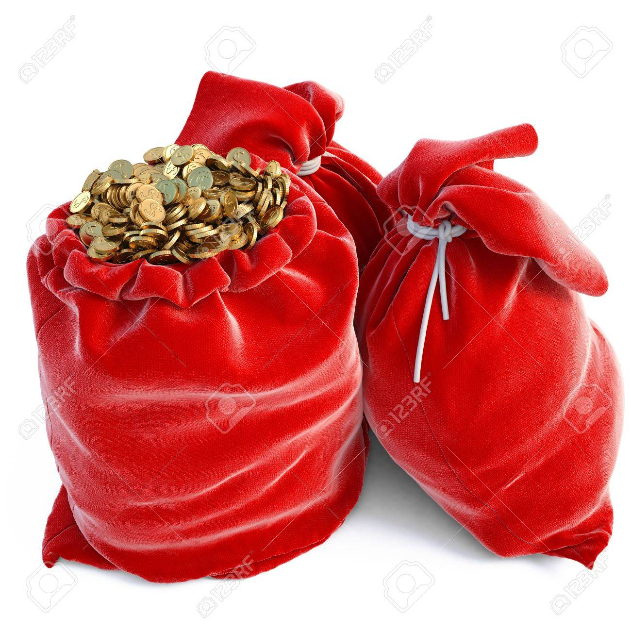 red bags full of golden coins. isolated on white. Stock Photo - 11457583