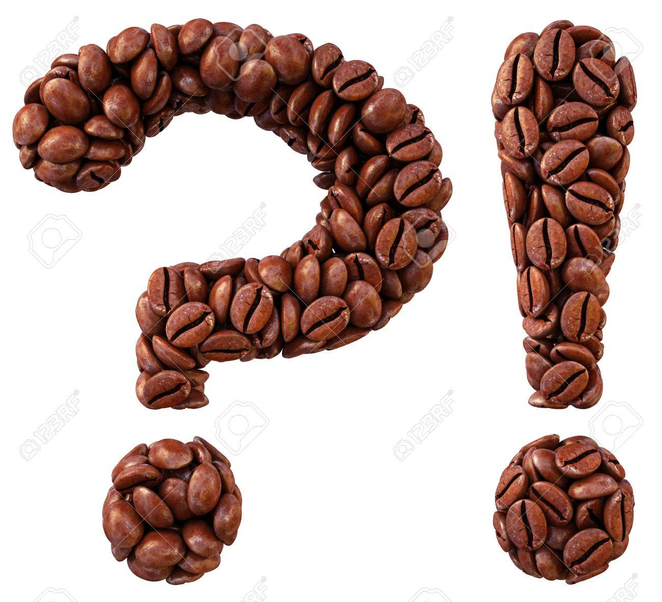 question and exclamation marks from coffee beans. isolated on white. Stock Photo - 11457594