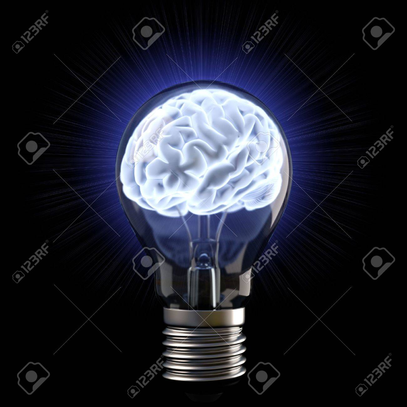 brains in the light bulb. isolated on white. Stock Photo - 12309476