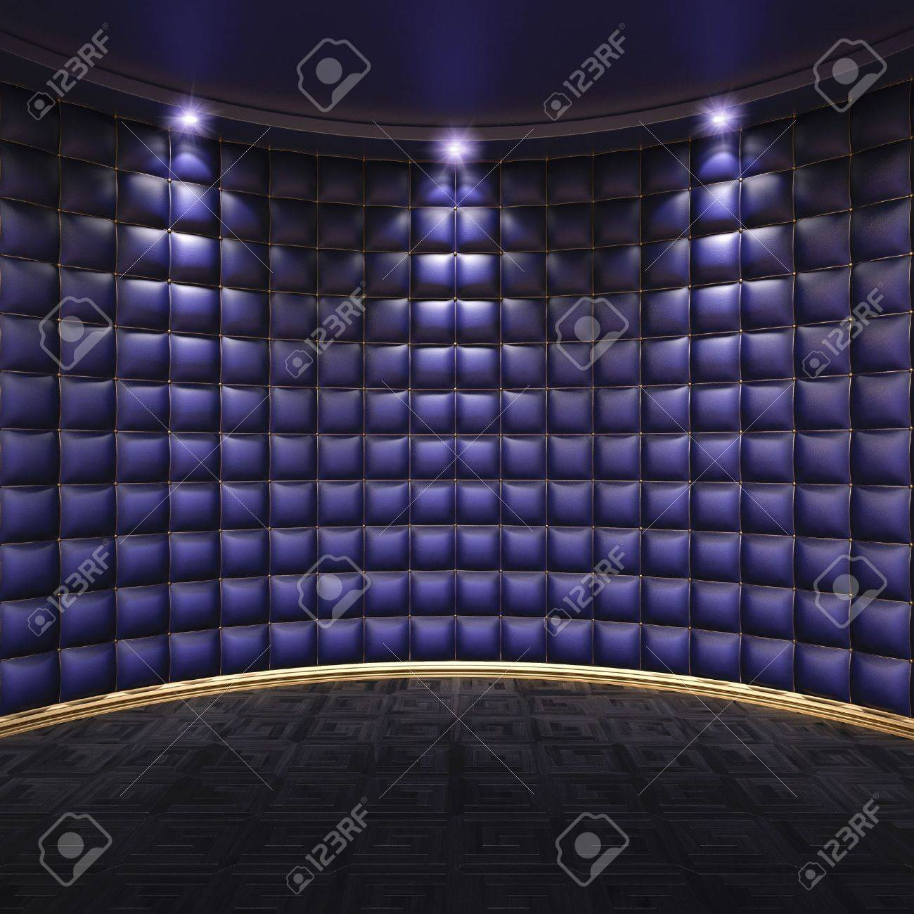 luxurious interior with leather walls and wooden parquet stock luxurious interior with leather walls and wooden parquet stock photo 12309808