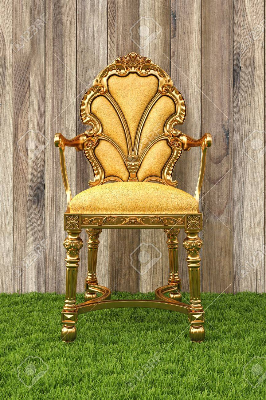 Golden Chair In The Room With Grass Floor. Stock Photo   12769752