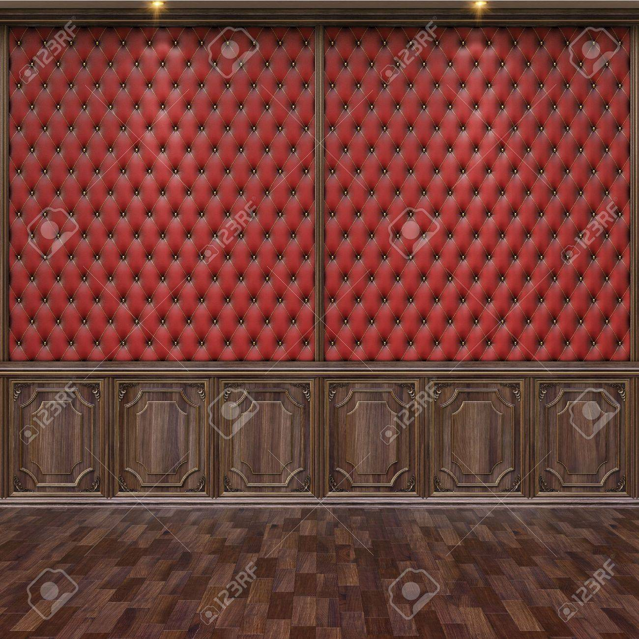 empty interior with leather and wooden wall panels. Stock Photo - 12769749