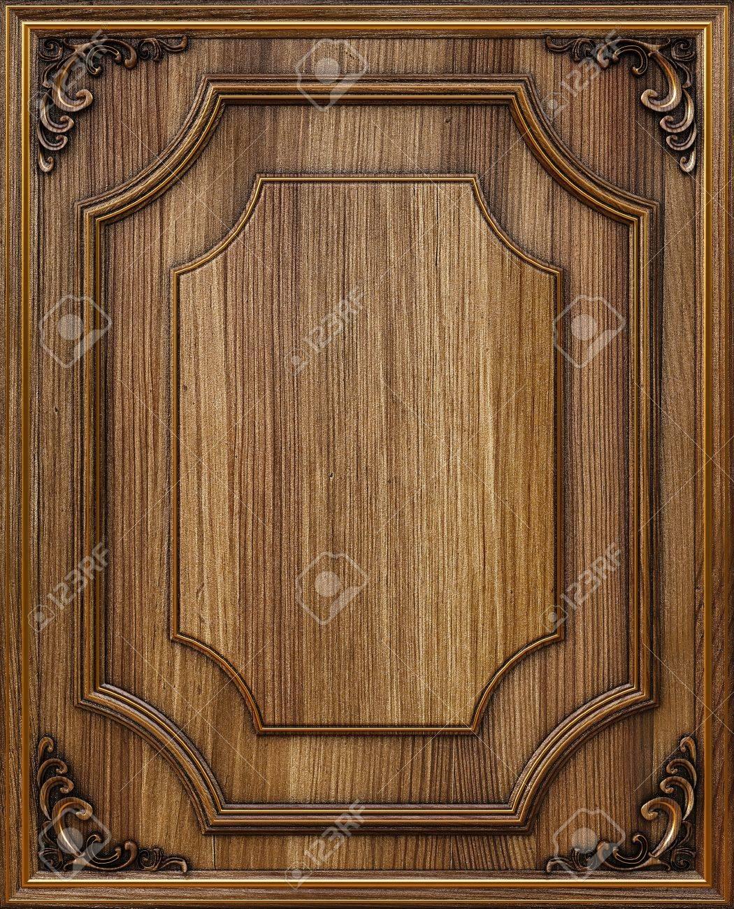 foto de archivo panel de madera decorativo con marcos dorados