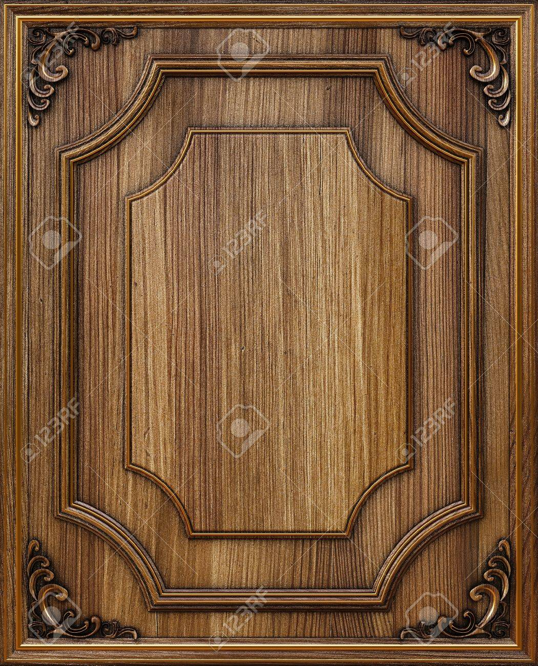 wooden decorative panel with golden frames. Stock Photo - 12769762