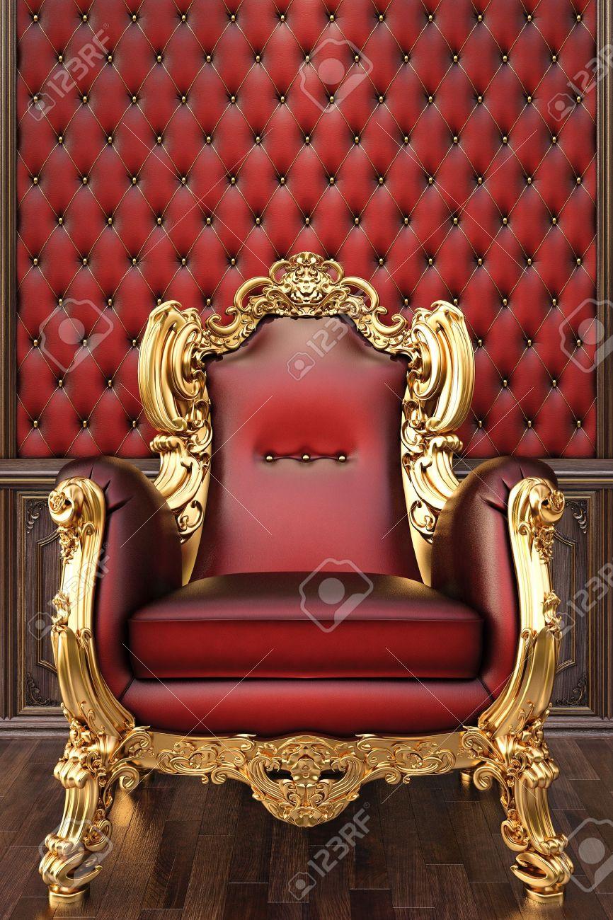 golden armchair in the luxurious interior. Stock Photo - 12769754