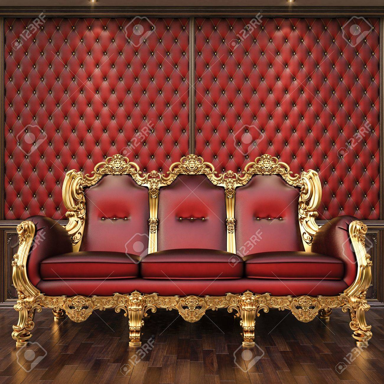 Golden Sofa In The Luxurious Interior. Stock Photo   12769760