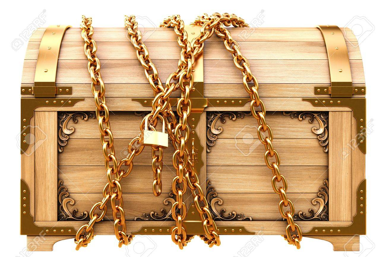 Image result for treasure chest chained