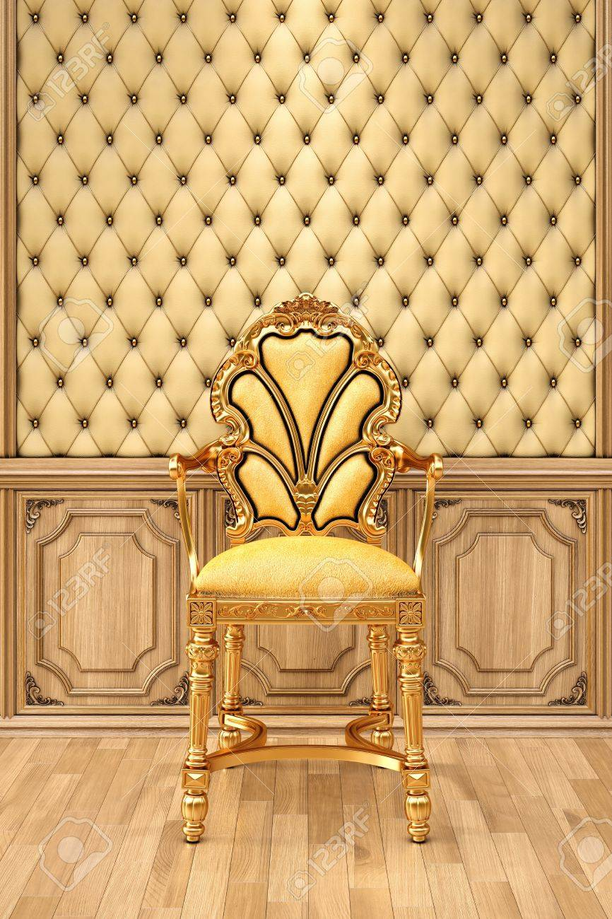golden chair in the luxurious interior. Stock Photo - 13415873