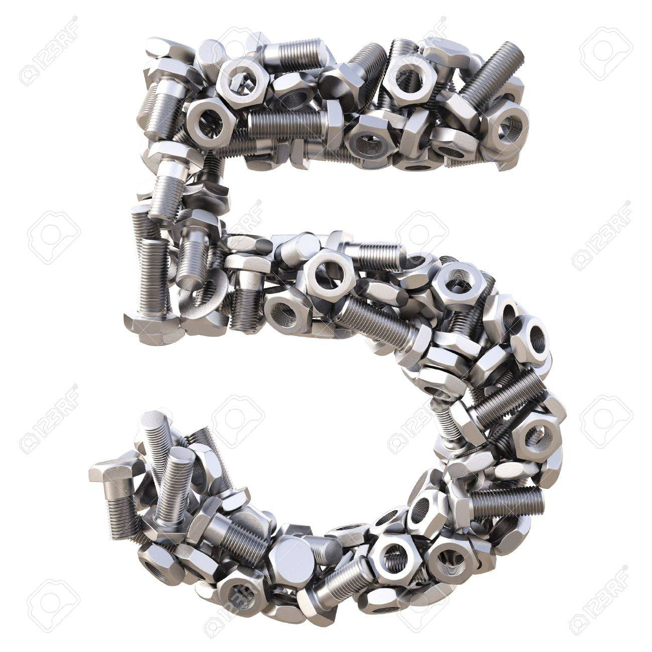 number from nuts and bolts. isolated on white. Stock Photo - 13673853