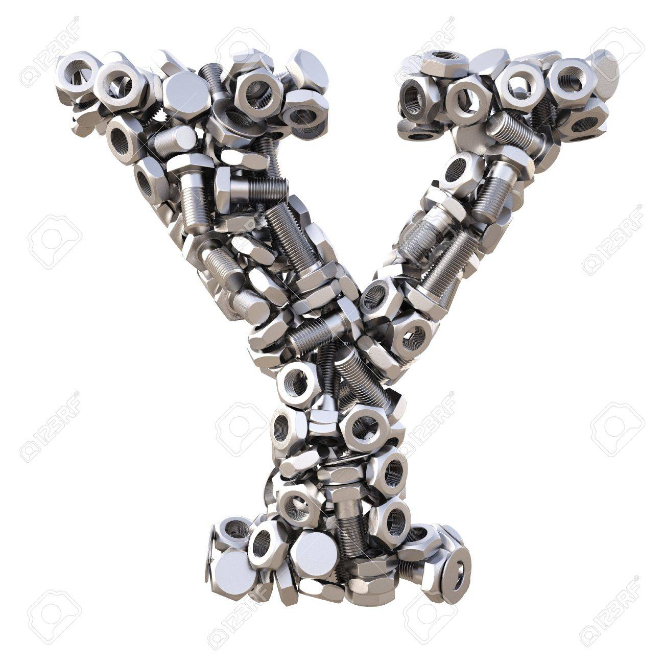 Alphabet from nuts and bolts. isolated on white. Stock Photo - 14563372