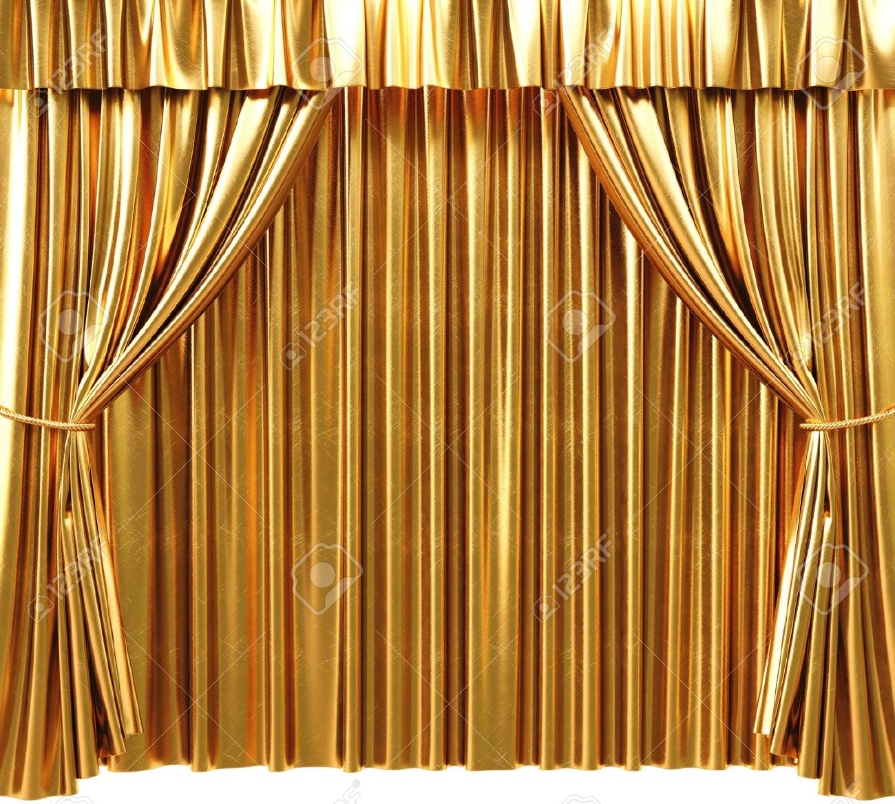 Golden Theatrical Curtain Gold Curtains Background