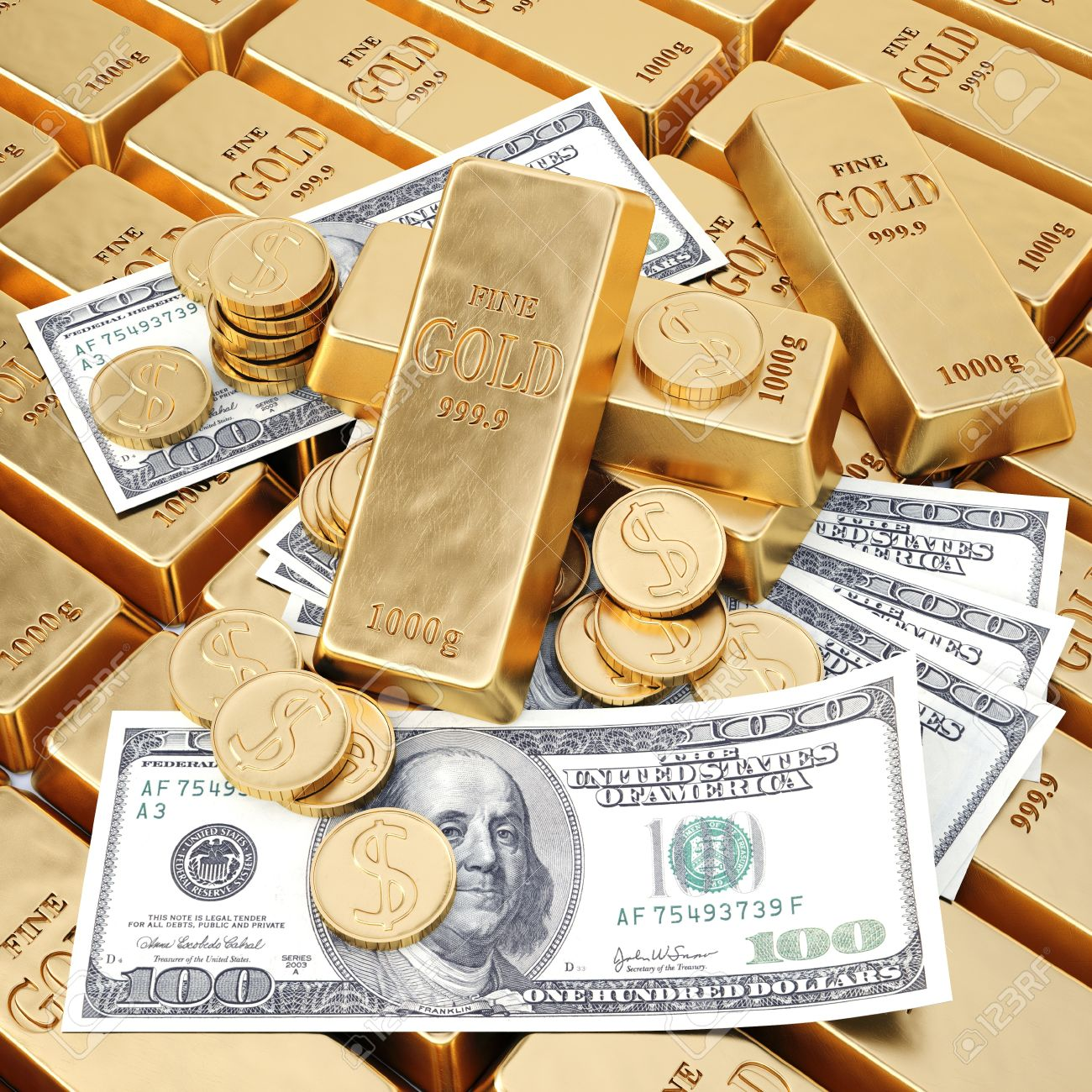Gold Bars Coins And Paper Money Stock Photo
