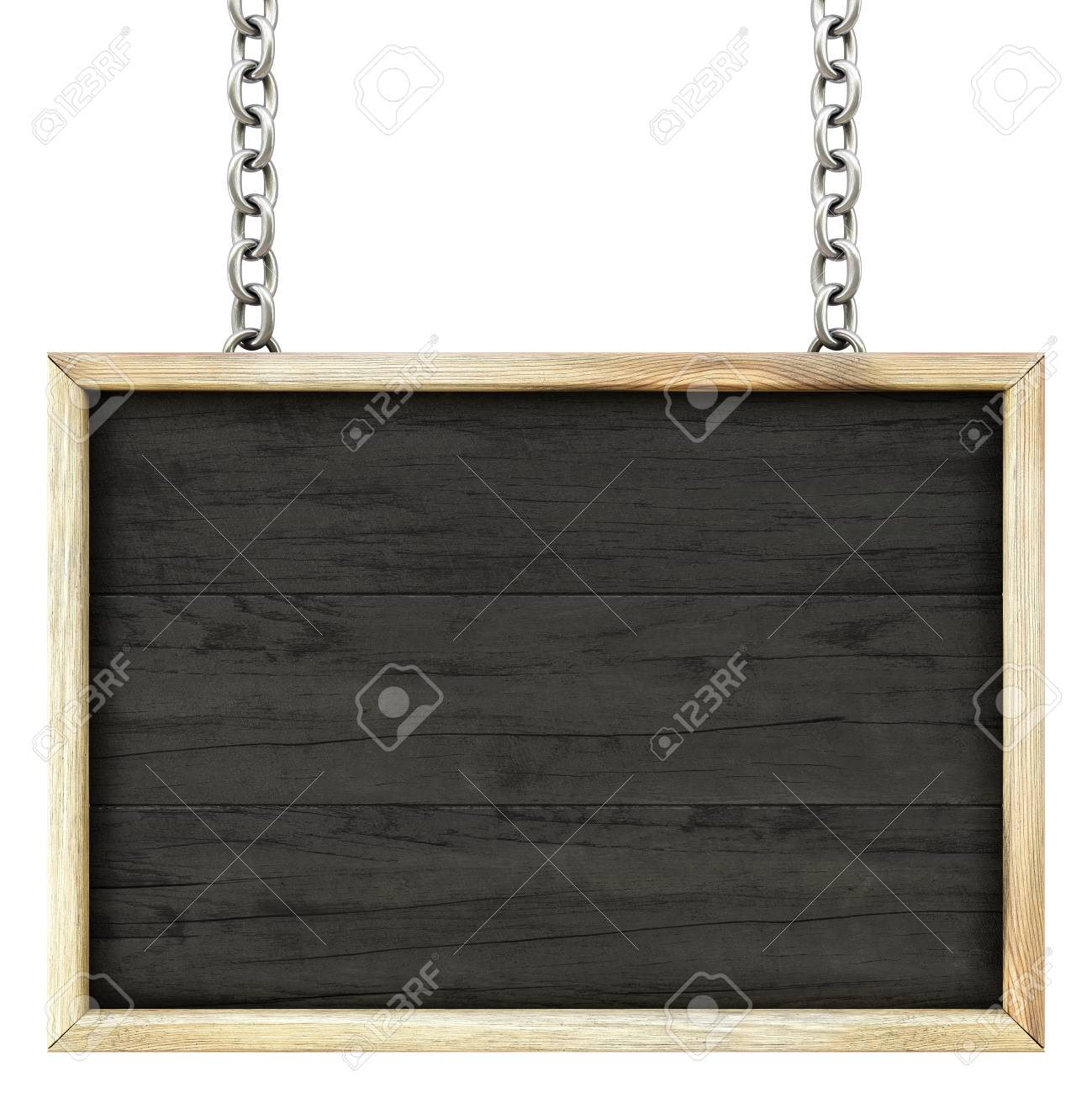 wooden signboard on the chains. Isolated on white. Stock Photo - 19080991