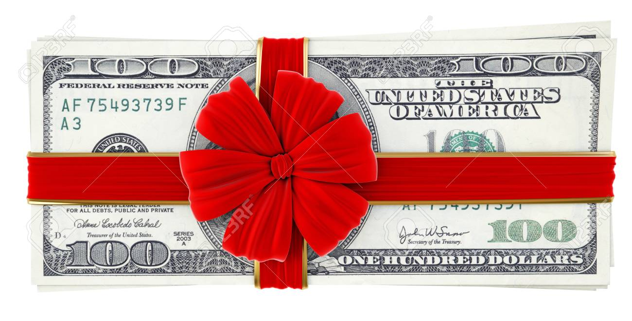 Money tied red ribbon with bow  Isolated on white Stock Photo - 23241717