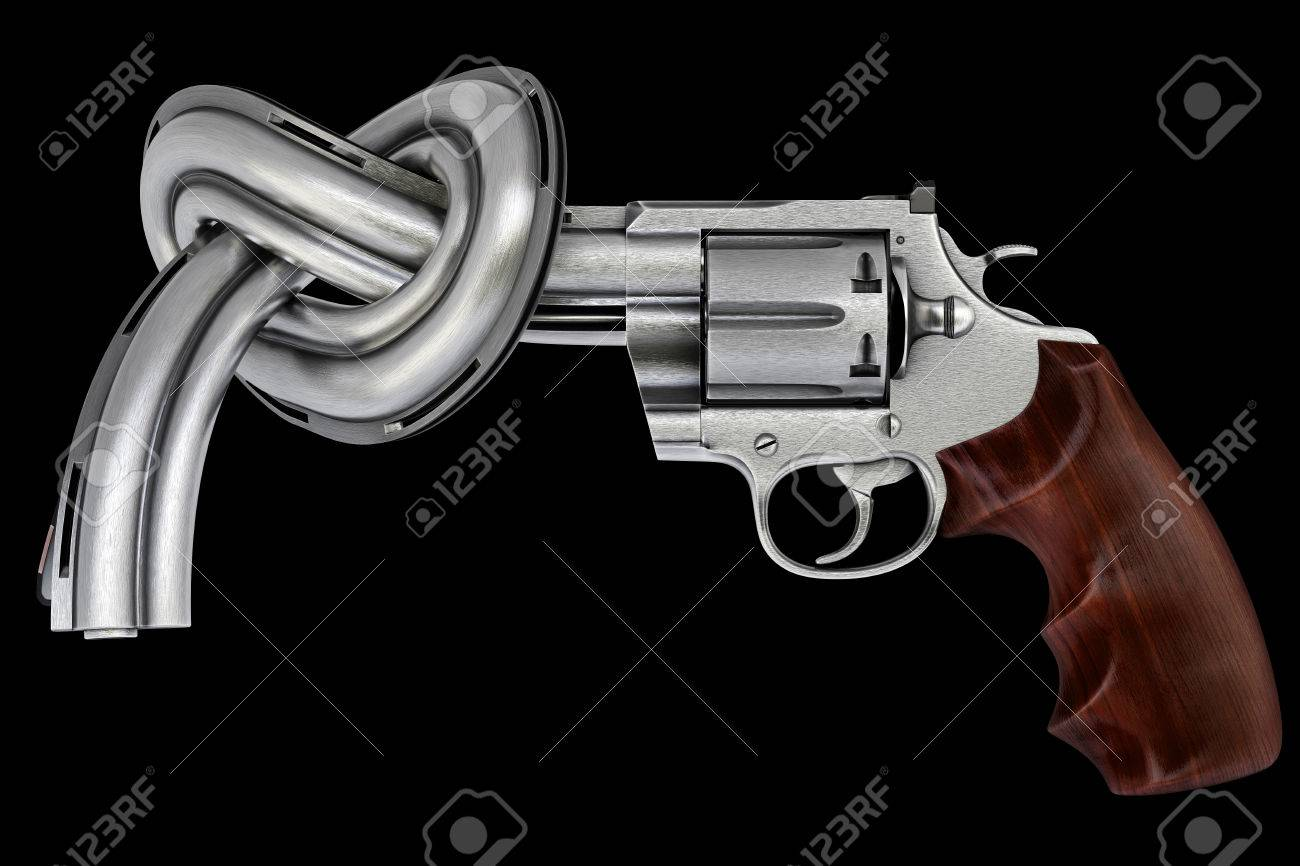 gun tied in a knot. Isolated on black. Stock Photo - 26041173