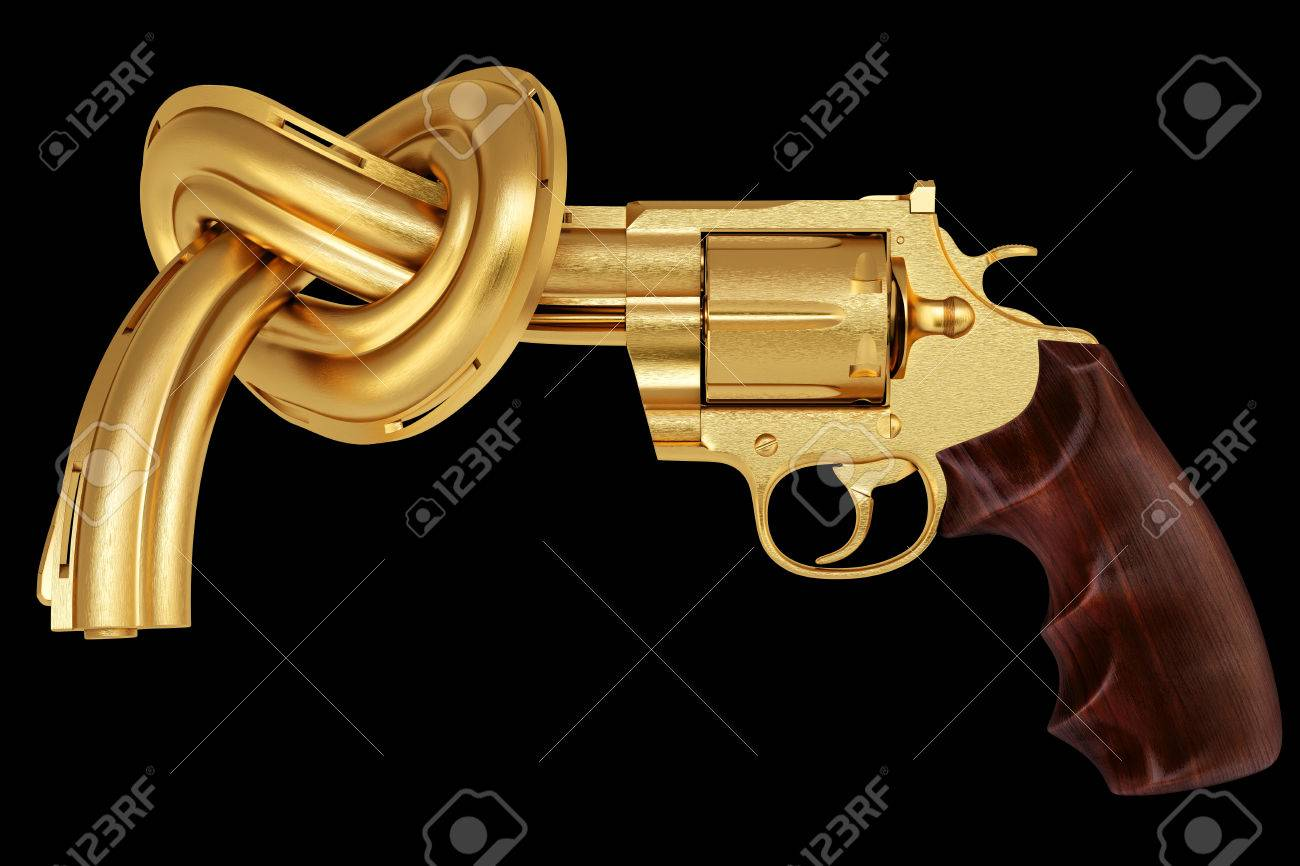 golden gun tied in a knot. Isolated on black. Stock Photo - 26041184