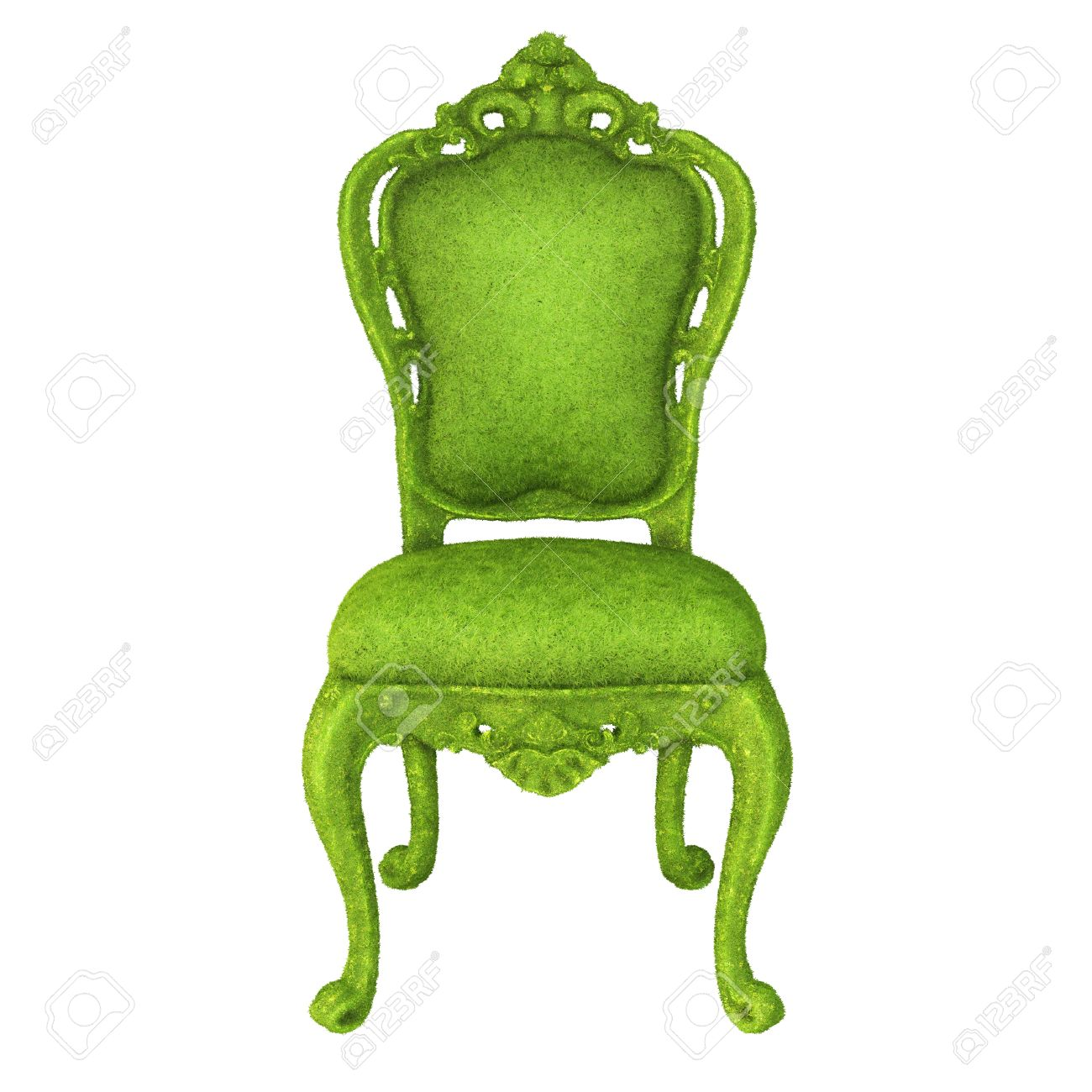Luxurious Chair Covered With Green Grass Isolated On White Background Stock  Photo   27583583