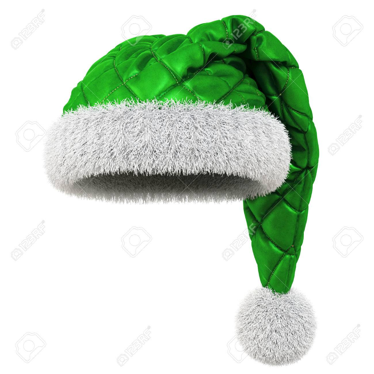036dc1a1affbc Santa Claus green hat isolated on white background. 3D illustration. Stock  Illustration - 65432955