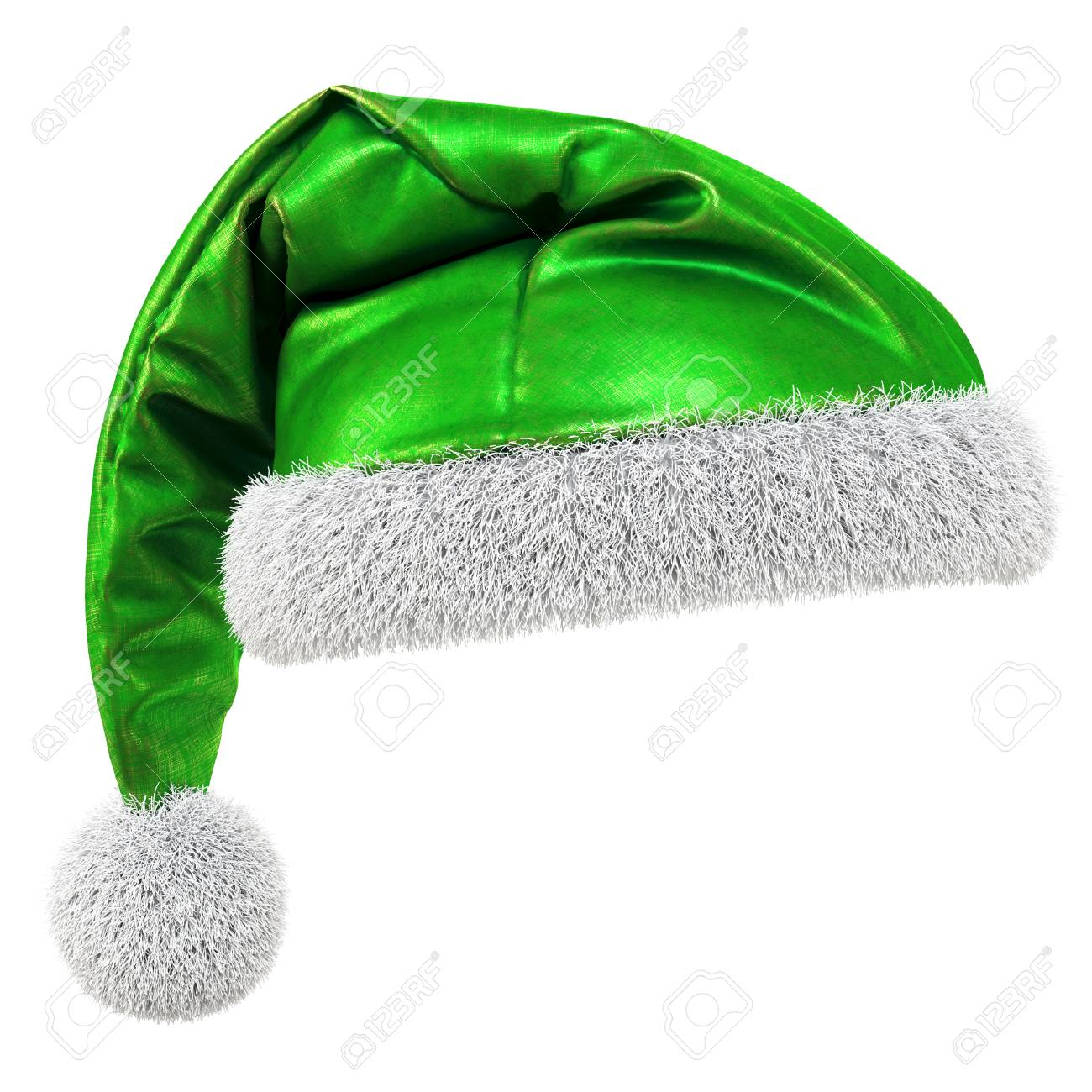 80316af32e768 Santa Claus green hat isolated on white background. 3D illustration. Stock  Illustration - 65432957
