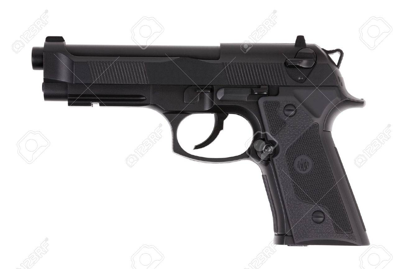 Black metal pistol with the trigger on a white background Stock Photo - 11673653