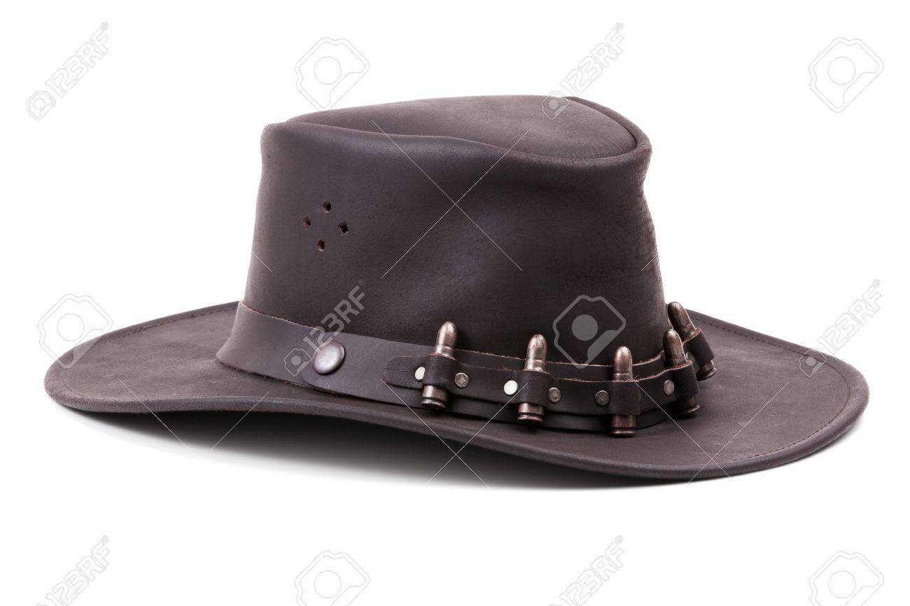 Stock Photo - The brown suede cowboy hat with bullets on a white background 997eb27bb8f2