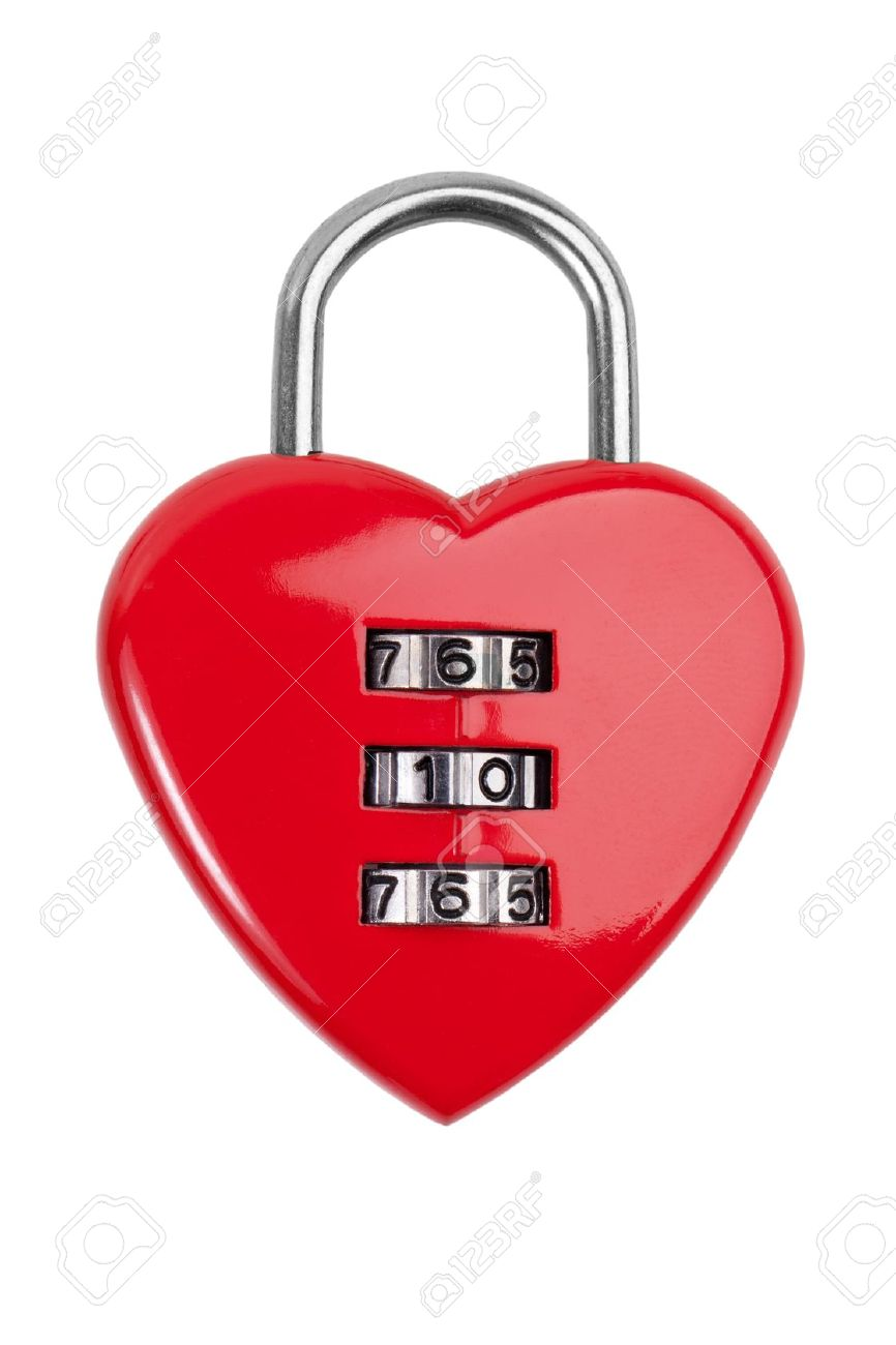 Combination lock with a red heart on  white background Stock Photo - 11673685