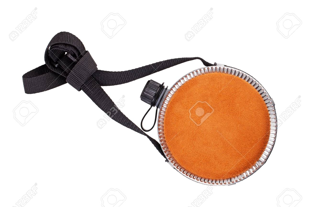 Flat flask, decorated with suede on white background Stock Photo - 11673691