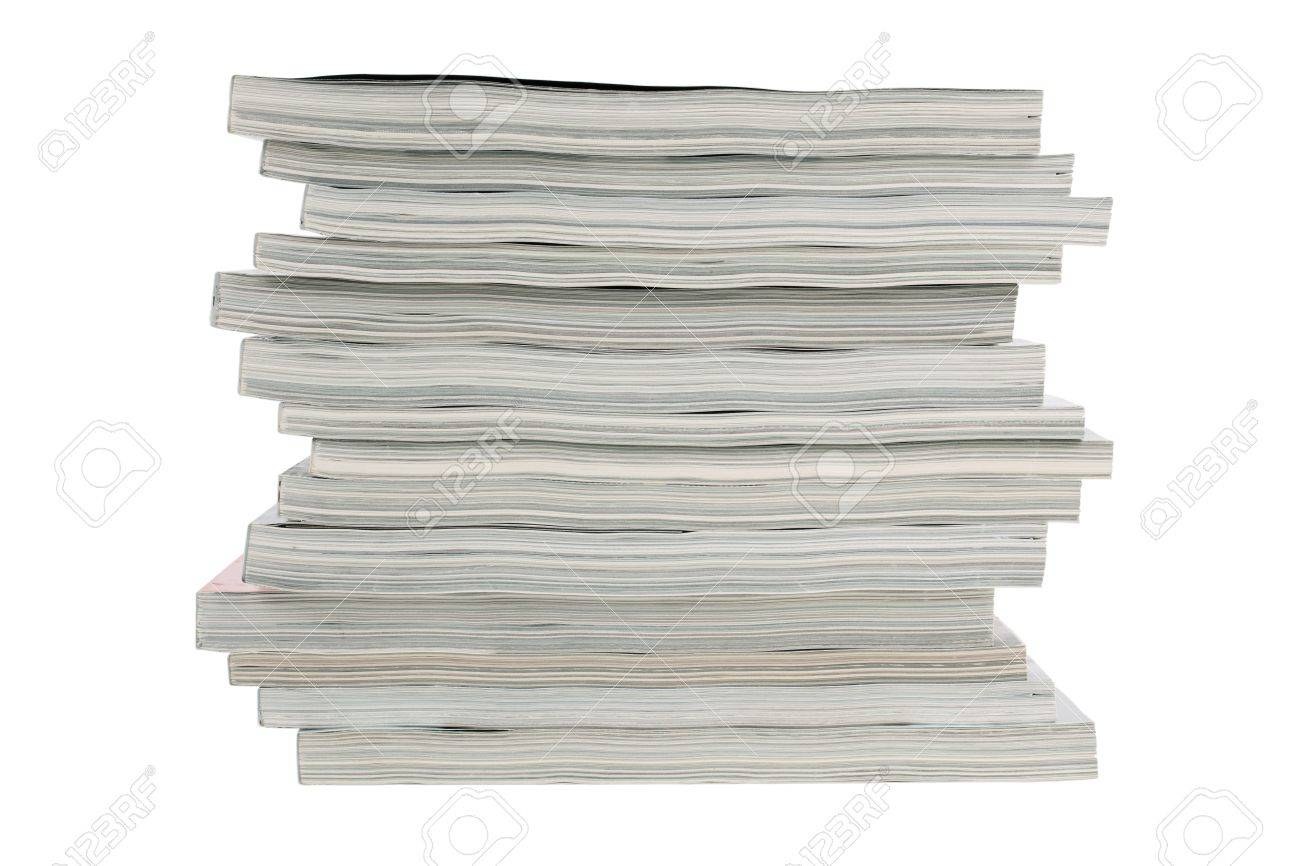 Stack of old magazines unnecessary on a white background Stock Photo - 12821861
