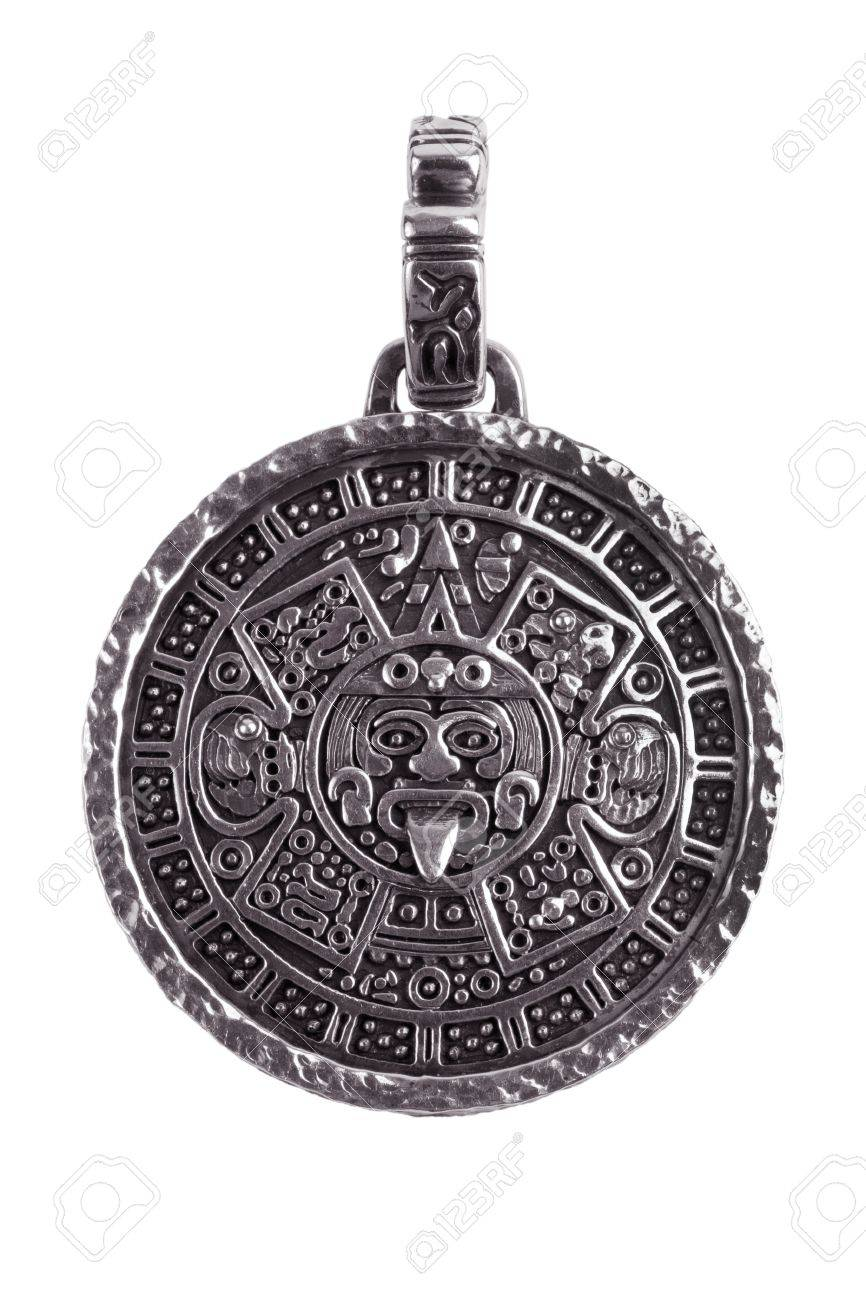 Pendant engraved with the mayan calendar on a white background stock pendant engraved with the mayan calendar on a white background stock photo 13298804 aloadofball Image collections