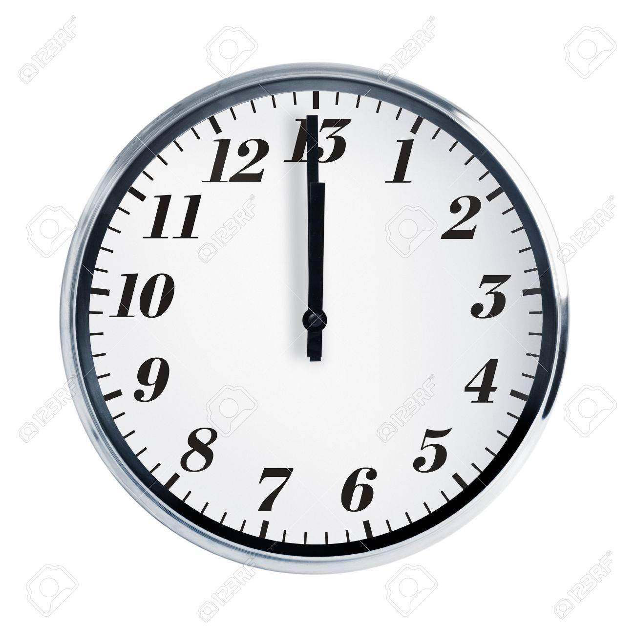 壁掛け時計で正午に白い背景のシ...