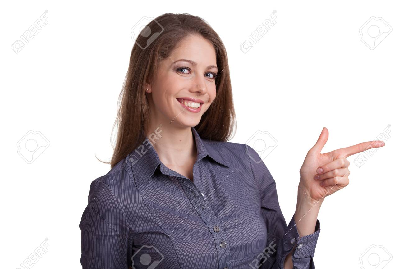 Pretty woman shows an index finger at something Stock Photo - 17053441