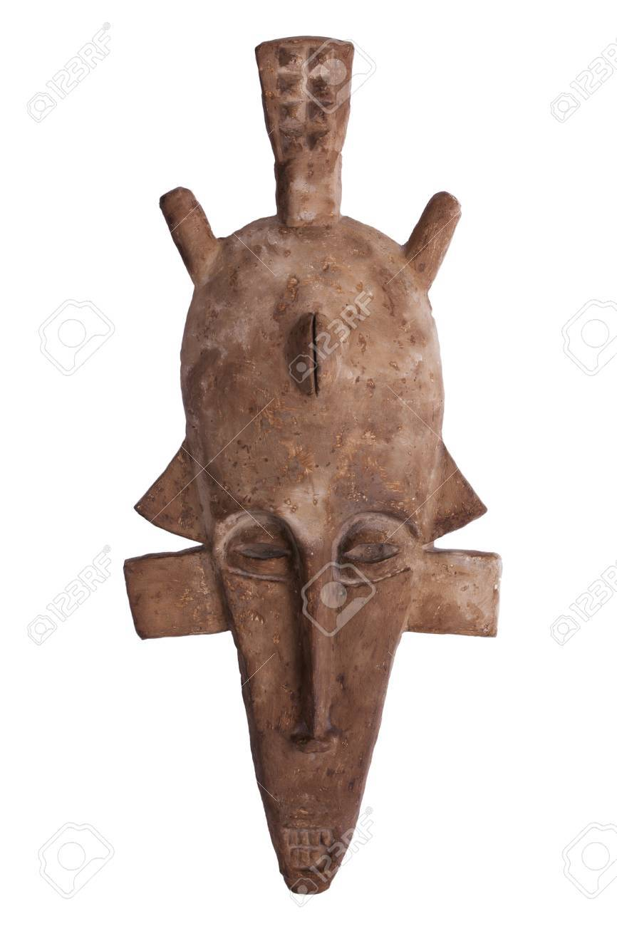 African tribal mask of brown color on a white background Stock Photo - 17311015