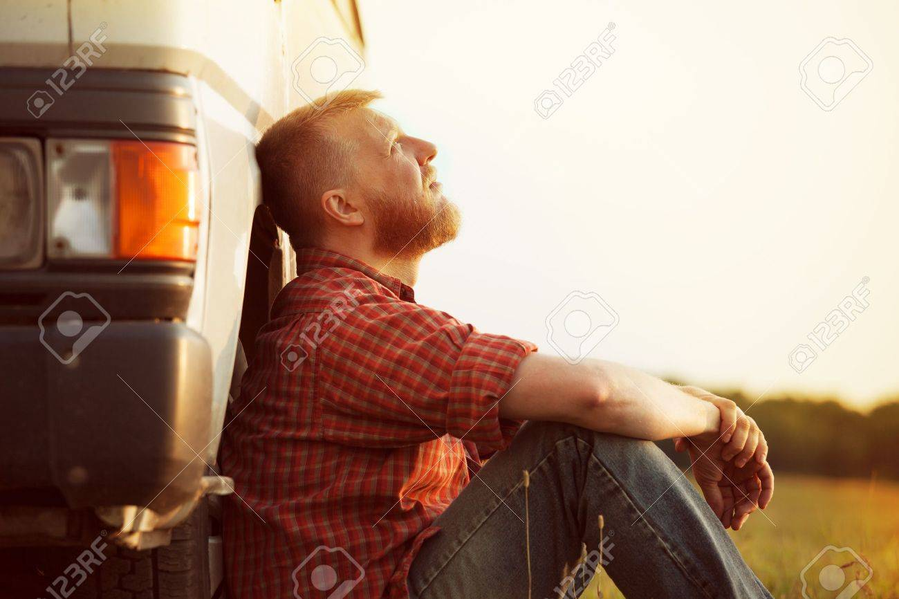 Bearded truck driver takes a break from work Stock Photo - 20998859
