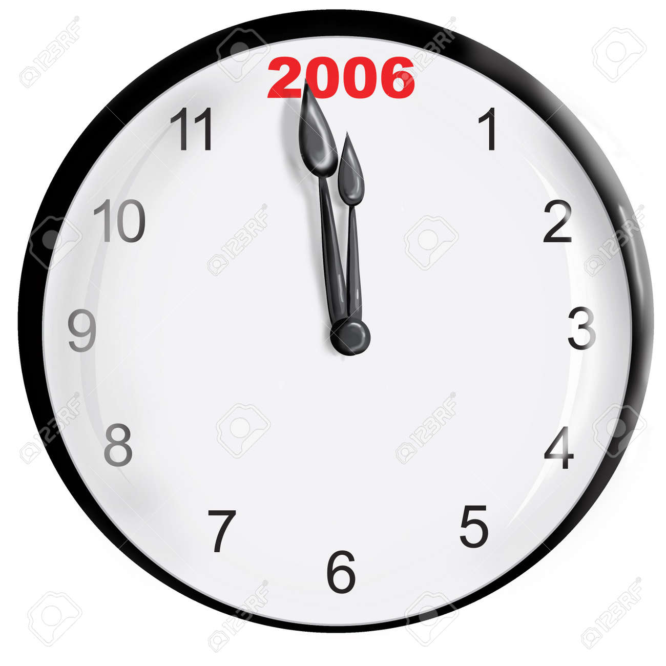 Clock with the new year. Stock Photo - 329989