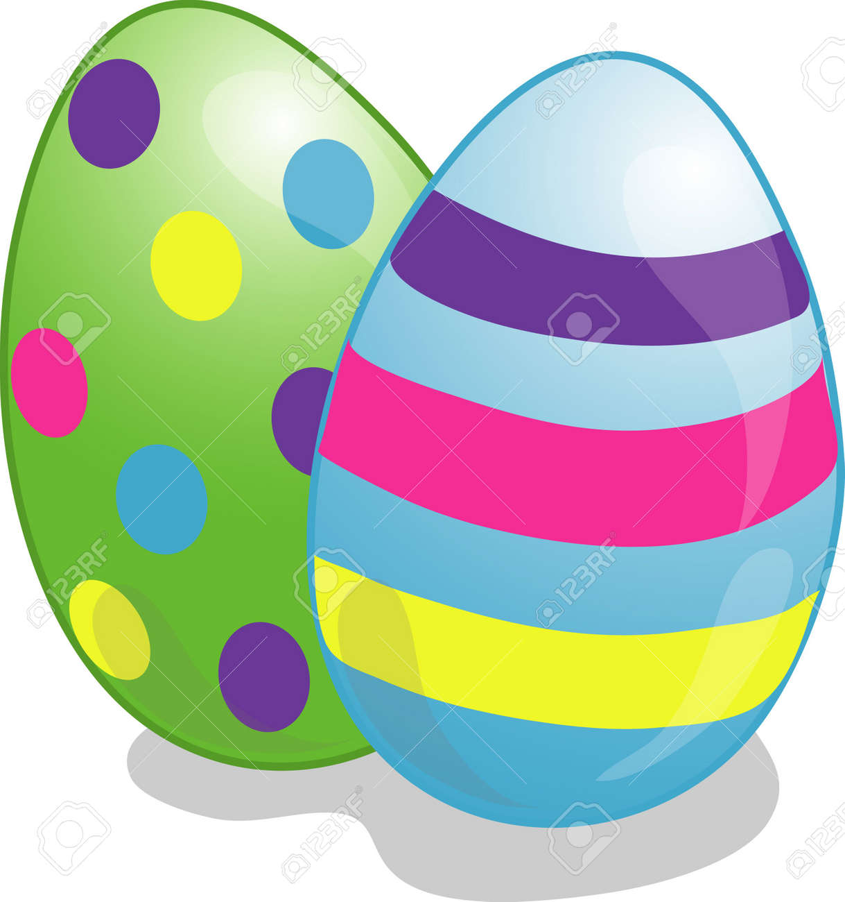 Illustration of two eggs dyed for Easter Stock Illustration - 2461467