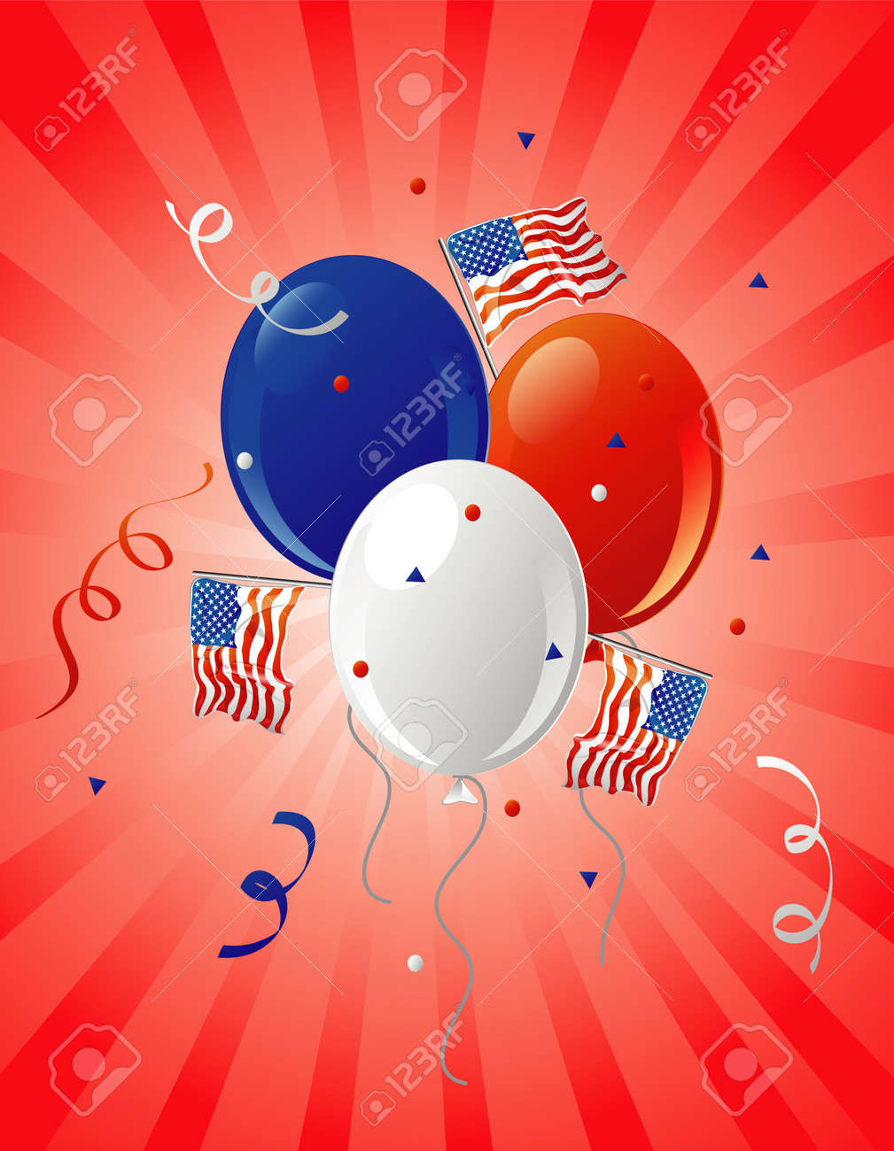 Illustration of patriotic party balloons and flags on a retro background. Stock Illustration - 2886055