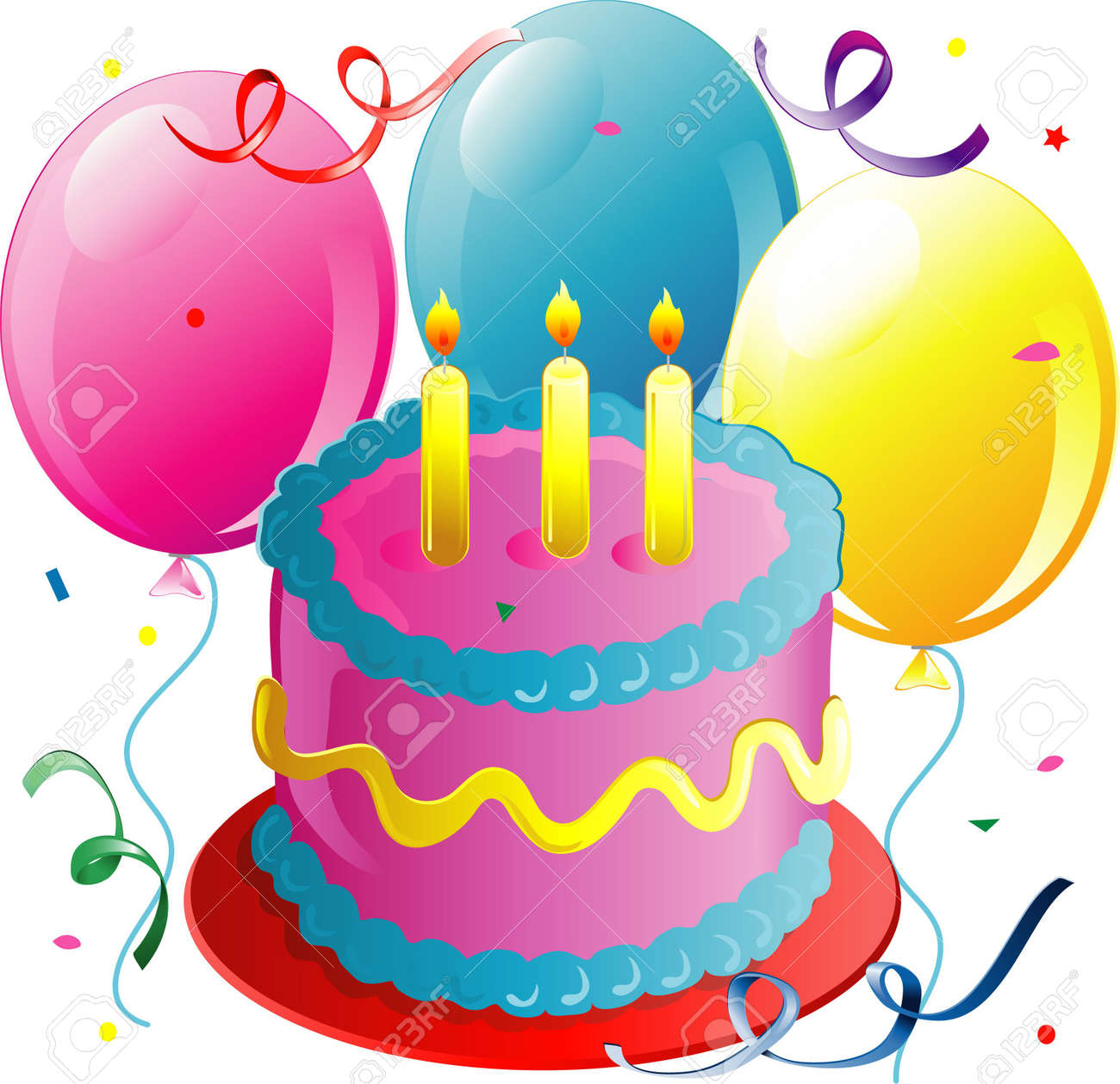 Illustration Of Balloons Cake And Confetti Stock