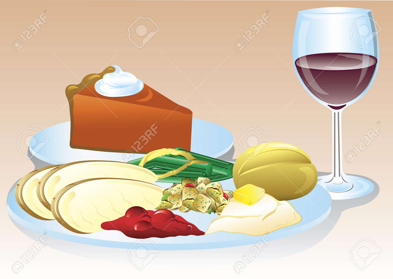 Illustration of a thanksgiving dinner with wine and pumpkin pie. Stock Illustration - 5939765