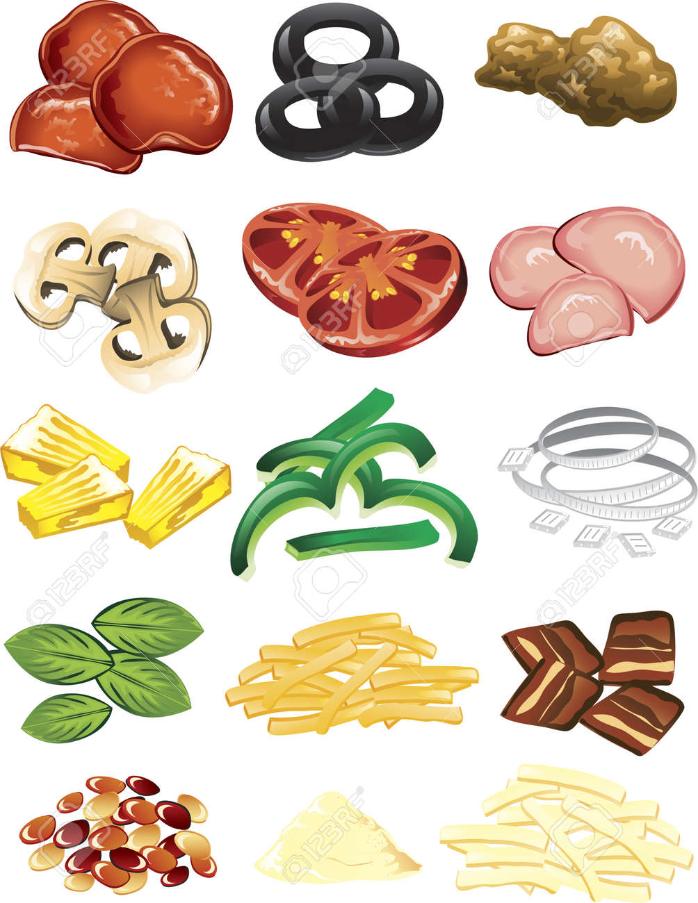illustration of different pizza toppings and cheese royalty free rh 123rf com Pizza Clip Art for Teachers Pizza Clip Art for Teachers