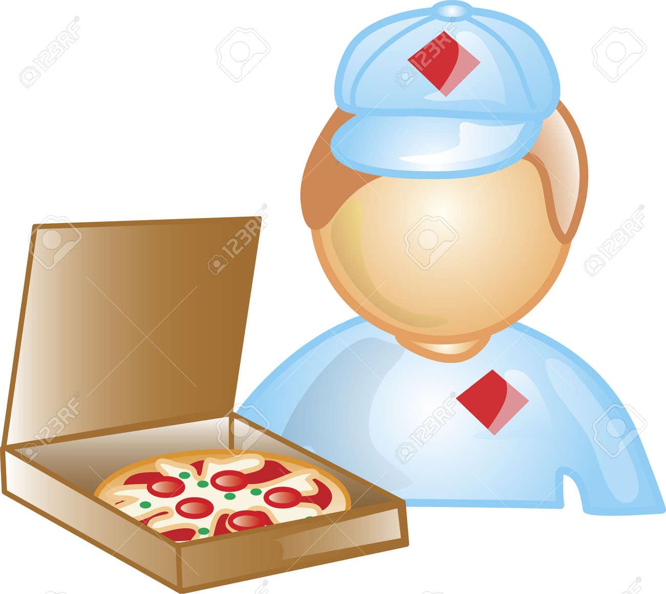 Ilustración De Un Icono De Chico De Entrega De Pizza Sosteniendo Una ...